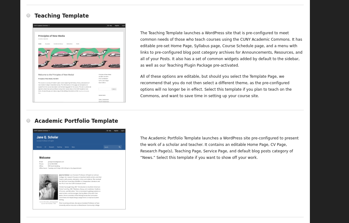 Feature 9943 Site Templates Cuny Academic Commons Cuny